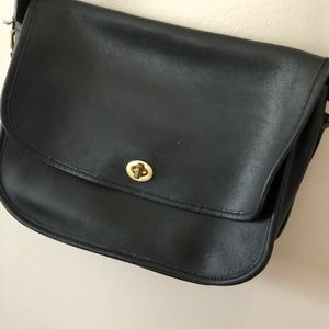Coach Bags - Coach Vintage Black Leather Flap Purse